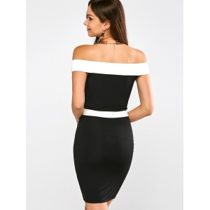 Color Block Off The Shoulder Bandage Dress -