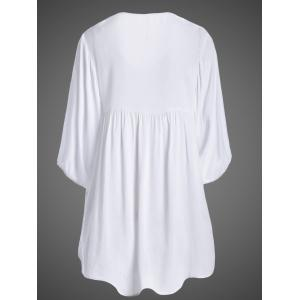 Plus Size Embroidered Casual Tunic Dress With Short Sleeves - WHITE ONE SIZE