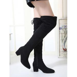 Chunky Heel Flock Pointed Toe Thigh Boots -