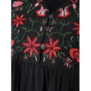 V Neck Embroidered Shift Casual Dress -
