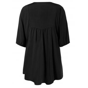 V Neck Embroidered Bib A Line Casual Dress Female - BLACK ONE SIZE