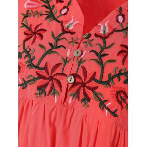V Neck Embroidered Bib A Line Casual Dress Female - WATERMELON RED ONE SIZE