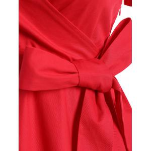 Retro Hepburn Style Bowknot Belted Swing Wrap Dress - RED 2XL