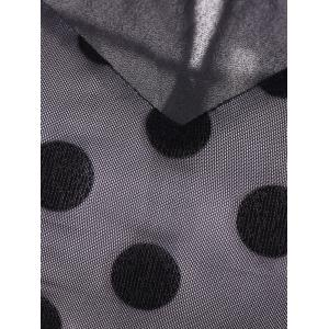 Summer Retro Polka Dot Mesh Yarn Insert Dress - BLACK 3XL