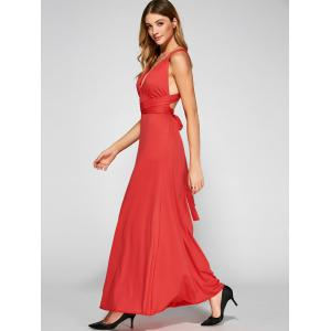 Slit Criss Back Wedding Guest Formal Dress - RED L