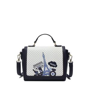 Print Polka Dot Cross Body Bag - White And Black - 40
