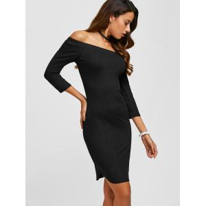 Off The Shoulder Ribbed Bodycon Dress - BLACK XL