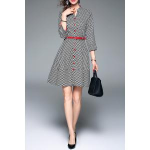 V Neck Plaid Work Dress with Belt -