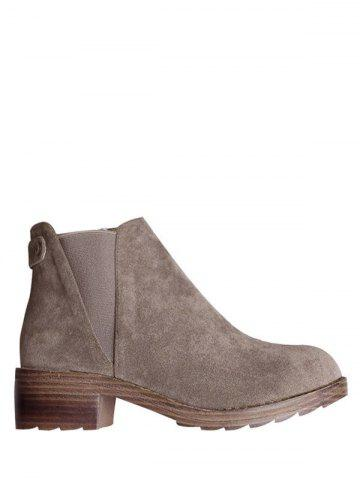 Unique Zipper Elastic Band Metal Ankle Boots CAMEL 39