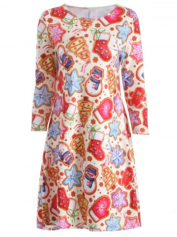 Fancy Christmas Cookie Swing Dress COLORMIX ONE SIZE