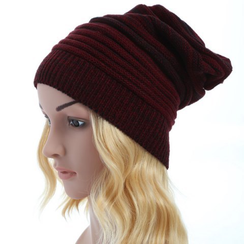 New Stripy Color Block Knitted Slouchy Beanie
