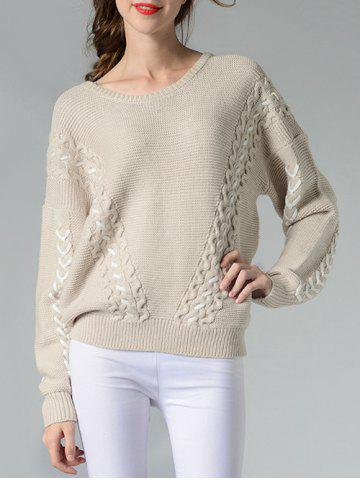 Chic Dropped Shoulder Sweater OFF WHITE ONE SIZE