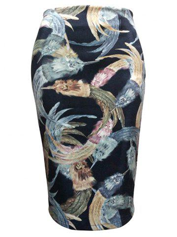 Feather Painting Tube Skirt - Black - M