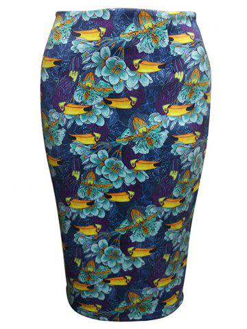 Chic Flower Painting Pencil Skirt