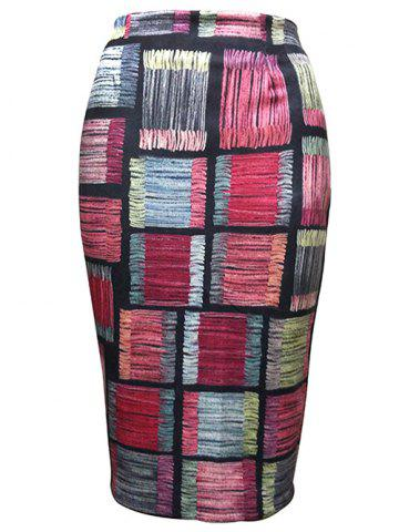 Discount Checked Pattern Pencil Skirt