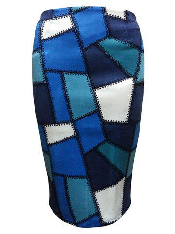 Online Geometric Patched  Pencil Skirt BLUE L