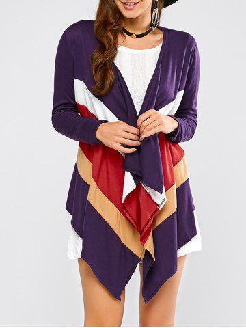 Purple Xl Color Block Waterfall Cardigan | RoseGal.com