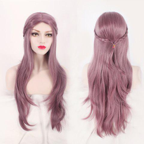 Chic Long Middle Part Layered Slightly Curled with Braided Mixed Color Synthetic Cosplay Wig