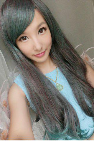 Shop Long Side Bang Slightly Curled Mixed Color Synthetic Cosplay Lolita Wig