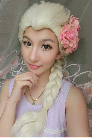 Hot Long Braided Mixed Color Synthetic Cosplay Queen Wig