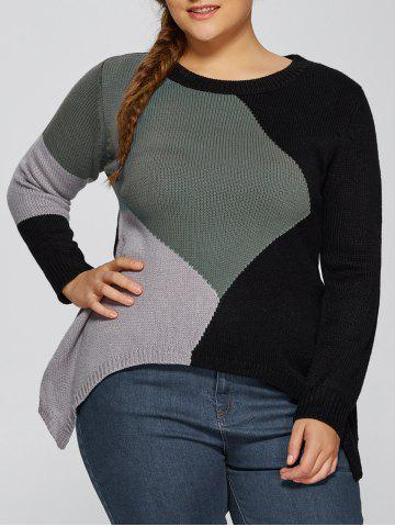 Trendy Asymmetric Pullover Plus Size Crew Neck Sweater BLACK 5XL