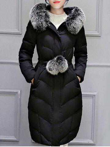 Hooded Long Quilted Coat - Black - Xl
