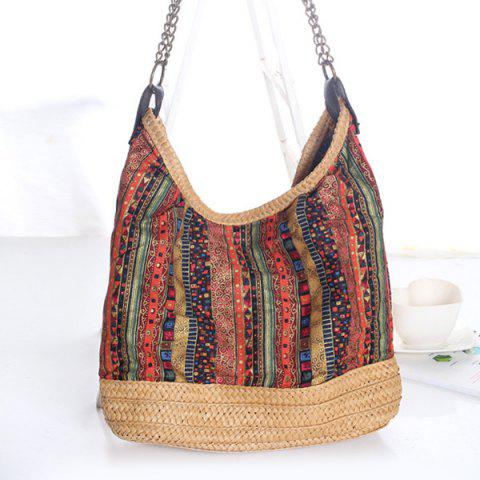Online Bohemian Straw Chains Printed Shoudler Bag RED