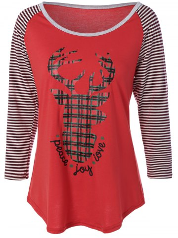 Store Reindeer Striped Raglan Sleeve Christmas T-Shirt RED XL
