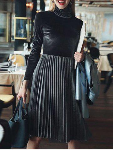 Hot Long Sleeve Turtleneck Pleated Velvet Dress