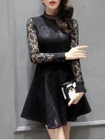 Shops Long Sleeve Openwork Lace Flare Dress