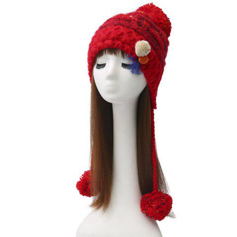 Winter Cirss Cross Knitted Colorful Ball Tassel Beanie - Red