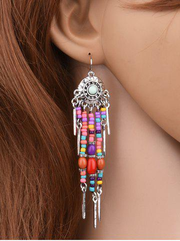 Affordable Medallion Colorful Beaded Drop Earrings SILVER