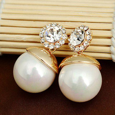 New Faux Pearl Ball Rhinestone Earrings