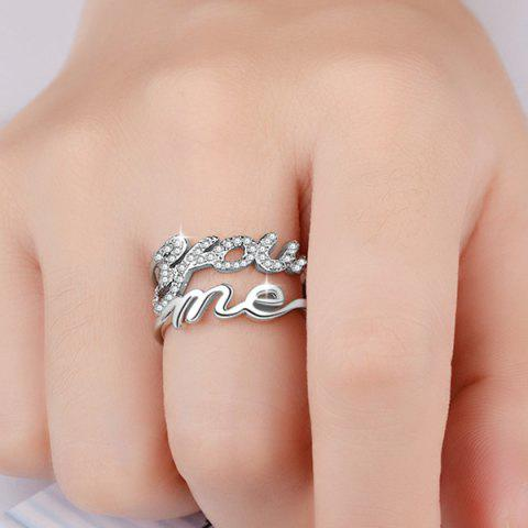 New Graphic Rhinestone You Me Ring