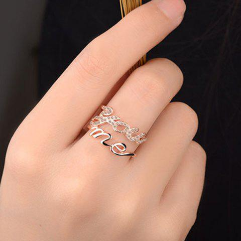 Graphic Rhinestone You Me Ring - Golden - One Size
