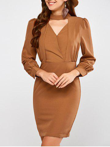 Trendy Choker Neck Long Sleeve Sheath Dress LIGHT BROWN L