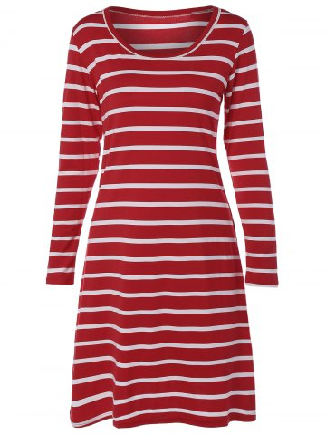 Affordable Long Sleeve A Line Striped Dress