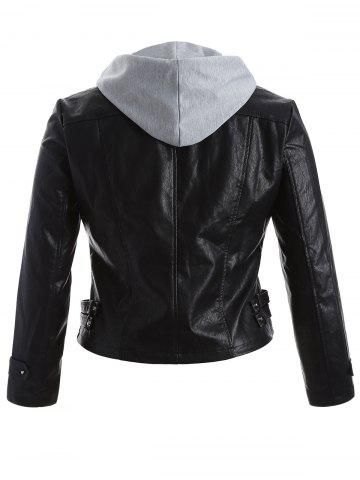 Hot Plus Size Panel Hooded Faux Leather Jacket - XL BLACK Mobile