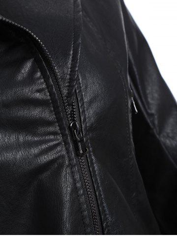 Outfits Plus Size Panel Hooded Faux Leather Jacket - XL BLACK Mobile