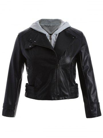 Plus Size Panel Hooded Faux Leather Jacket - Black - Xl
