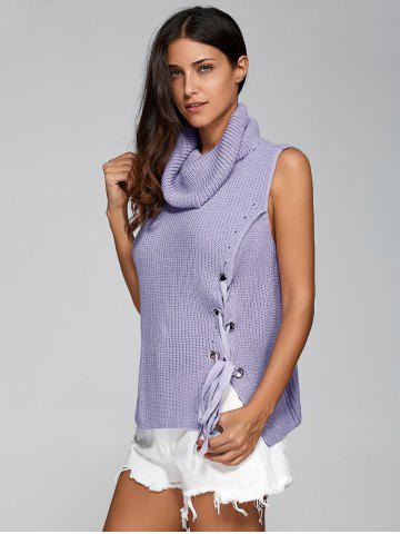 Sleeveless Tie Up Cowl Neck Sweater