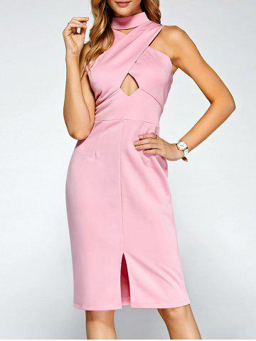 Best Keyhole Cross Front Bandage Cut Out Dress PINK XL