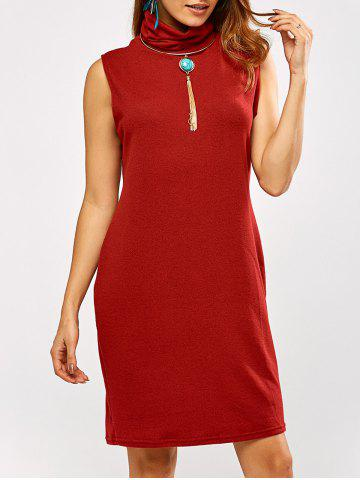 Discount Cowl Neck Tank Sweater Dress RED XL