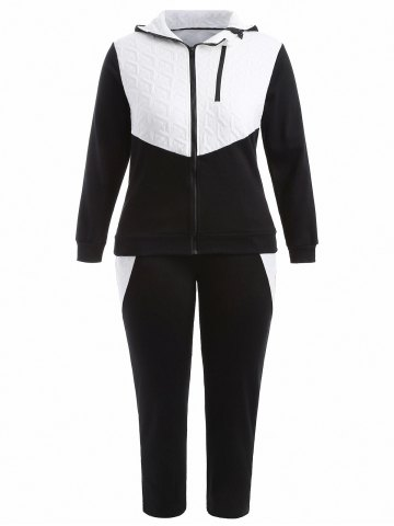 Chic Plus Size Hooded Jacket and Contrast Pants Twinset - XL BLACK Mobile