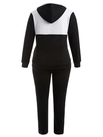 Discount Plus Size Hooded Jacket and Contrast Pants Twinset - XL BLACK Mobile