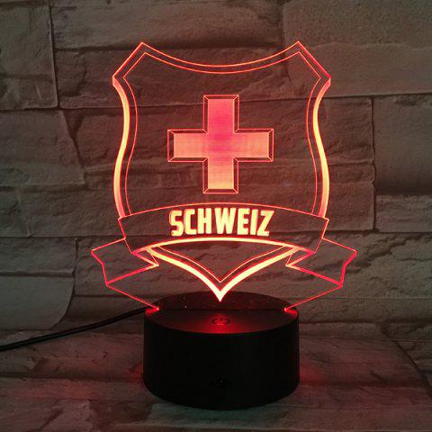 Fashion 7 Color Touch Changing 3D Medal Night Light TRANSPARENT