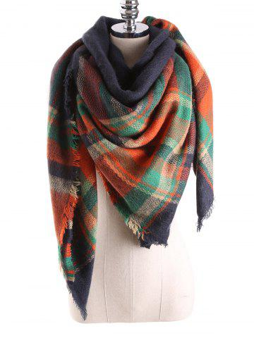 Outfit Warm Tartan Plaid Blanket Shawl Scarf PURPLISH BLUE