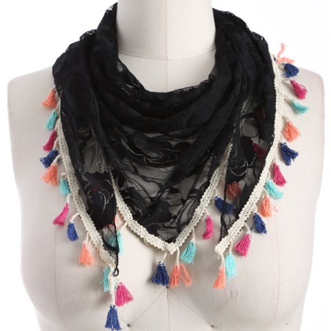 Store Travel Colorful Tassel Lace Triangle Scarf BLACK