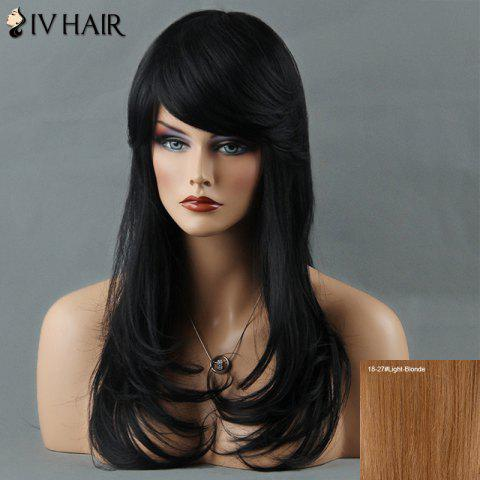 Long Layered Tail Adduction Oblique Bang Siv Human Hair Wig - LIGHT BLONDE /