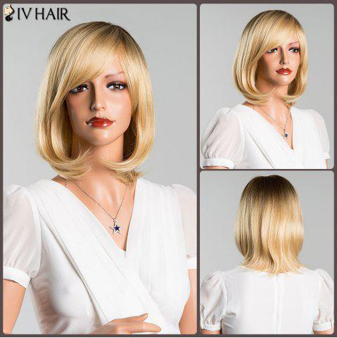 Unique Short Side Bang Straight Mixed Color Siv Human Hair Wig